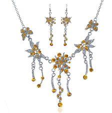 Set Collar Pendientes Cadena Estrás Flores Traje Amarillo 17Ge Edelweiss