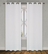 "Faux Silk Window Treatments Curtains Mira Grommets 63"" 84"" 95""108""120"" White"