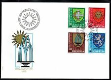 Switzerland - 1980 Pro Juventute / Coats of A. Mi. 1187-90 clean unaddressed FDC