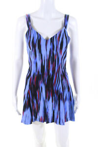 Parker Womens Open Back V Neck Abstract Romper Blue Black Red Silk Size XS