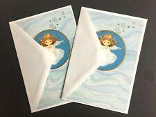 Vtg Hallmark Christmas Card Angel Blue w/ gold trim envelopes lot of 2