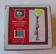 Vintage Santas World 3 Solid Brass Bells Poinsettias Door Hanger Kurt Adler Nib