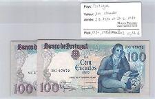2 BILLETS PORTUGAL - 100 ESCUDOS - 2.9.1980 et 24.2.1981