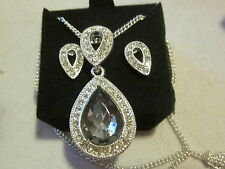 AVON Pave`Pear Shaped Necklace & Earring Gift Set-Silvertone & Bk Diamond Color