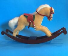 """STEIFF ""ROCKING HORSE"" EAN 03749 MOHAIR BEIGE HORSE ON WOODEN ROCKERS  15"""