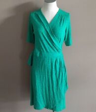 Lilly Pulitzer Women's M Arina Knit Wrap Dress Safety Pin Print in Emerald Green
