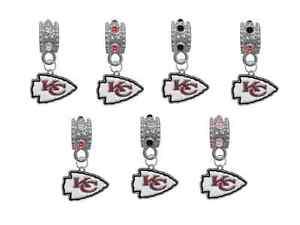 Kansas City Chiefs Football European Rhinestone Charm for Bracelet Necklace Bead