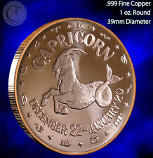 """Capricorn"" 1 oz .999 Copper Round Part of the Horoscope Series"