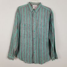 Santana Collection Vintage long sleeved button front turquoise gray shirt sz XL