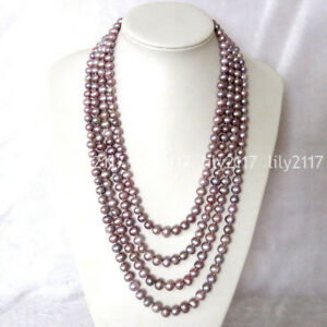"""Natural 4 Rows 6-8mm Lavender Purple Akoya Freshwater Pearl Necklace 22-28"""" AAA"""
