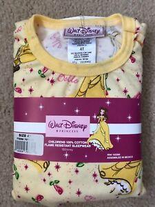 Walt Disney Princess Belle Sleepwear Pajamas Girls Toddler Size 4T - NEW