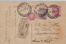 Cartolina postale 25c+50c MICHETTI-Raccomandata Roma x città 10.3.1923