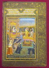 Indian Love Scene Miniature Akbar Jodha Mughal Art Old Paper Persian Calligraphy