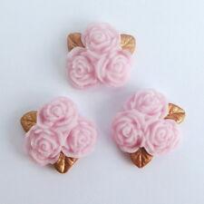 12 light pink ROSE POSY flowers & gold leaves edible sugar cupcake topper 2cm