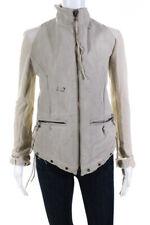 Greg Lauren Womens Distressed Knit Sleeves Jacket Beige Size 1
