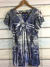 Women's One World Live and Let Live Blue Embellished V-Neck Top Blouse Shirt, 1X