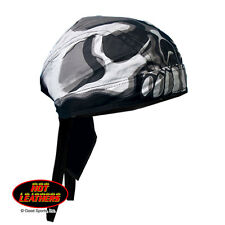 Black White Skull Face Biker Premium Headwrap Sweatband Vented Mesh Lined