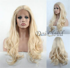 Blonde Synthetic Lace Front High Quality Long Wavy Wig Heat Safe Hair 0 Wigs
