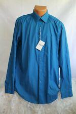 MEN - ADOLFO (L 16-16.5 34/35) Shirt Sapphire Blue Spread Collar Pocket Buttons