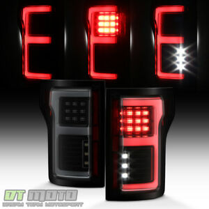 Black Smoke 2015-2018 Ford F150 Full LED w/ Blind Spot Sensor Tail Lights Lamps