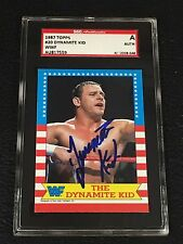 THE DYNAMITE KID 1987 TOPPS WWF WRESTLING SIGNED AUTOGRAPHED CARD SGC AUTHENTIC