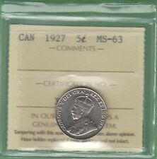 1927 Canada 5 Cents Coin - ICCS Graded MS-63