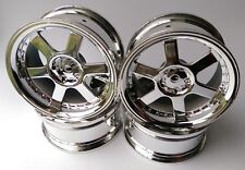 Rc Car 1/10 Drift 5 Spoke 37R Rims Wheels 3mm Offset fits Tamiya HPI HSP CHROME