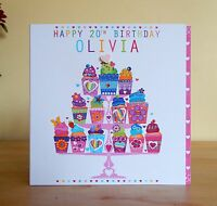 Birthday card for girl female personalised with name and age. Special handmade