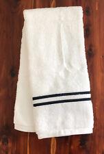 Wamsutta Baratta Egyptian Cotton Hand Towel White W/ Navy Blue Border 16 x 30in
