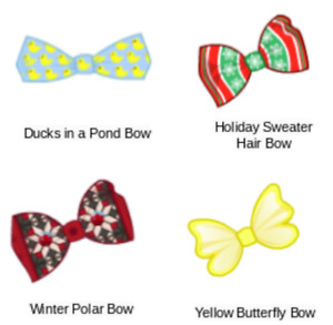 Webkinz virtual online items HAIR BOWS - Mystery, Promo, Cracker, Gem, Holiday
