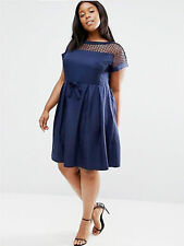 Praslin @ Simply Be Plus Size 22 Navy Lattice Pleat Skirt Skater DRESS Hols £45
