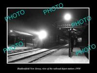 OLD LARGE HISTORIC PHOTO OF HADDONFIELD NEW JERSEY, THE RAILROAD STATION c1950