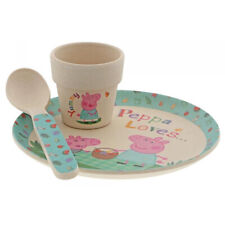 Enesco Peppa Pig Bamboo Egg Cup Dinner Set - Plate, Egg Cup & Spoon