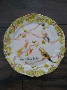 Anthropologie Inslee Fariss Plate four calling birds--12 Days of Christmas NWT