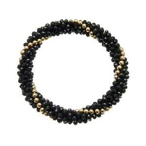 Womens Stretch Black Bracelet with glass rondelle and gold beads - Rae B11
