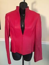 DKNY Red Leather Zip Up Jacket - Small