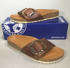 Birkenstock Madrid Big Buckle Women's Sz 7 (EU38)N Brown Leather Sandals KB-1256