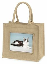 Silver, White Maine Coon Cat Large Natural Jute Shopping Bag Christmas, AC-36BLN