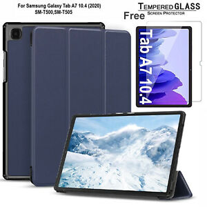 For Samsung Tab A7 10.4 T500 2020 Luxury Slim Leather Smart Case +Tempered Glass