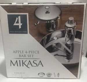 MIKASA Apple 4-Piece Stainless Steel Bar Set Tray/Shaker/Ice Bucket/Tongs *NEW*
