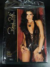 Rene Rofe Lace Halter Teddy  Medium/Large Black Lingerie