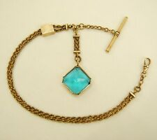 Watch Chain w/ Blue Glass Gemstone Antique Gold Filled Albert Slide Pocket