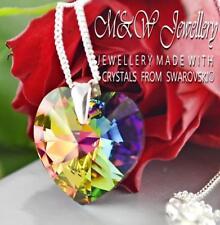925 Silver Necklace Pendant Crystals from Swarovski® HEART 18mm - VITRAIL MEDIUM