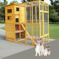 Outdoor Cat Pet House Run Enclosure Wooden Fun Small Animal Shelter Tunnel