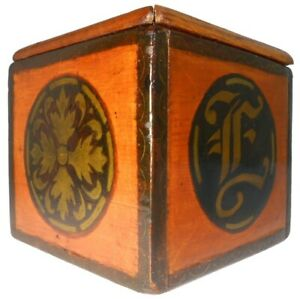 EARLY 20TH C AMERICAN ARTS & CRAFTS GEO HISCOCK 1909 SGND HND DEC WOODEN BOX/LID