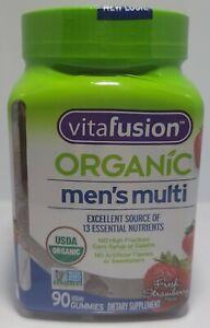 Vitafusion Organic Men's Multivitamins Strawbery Flavour - 90 Gummy Tablets