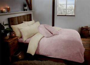 Blush & Cream Reversible Teddy Fleece Fur Duvet Quilt Cover Set Inc Pillowcases