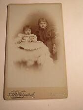 Aussig - 2 kleine Kinder - Mädchen im Kleid - Portrait / CDV