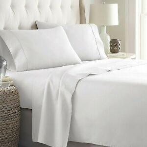 Branded White Solid 4 PCs Sheet Set 1000 TC Egyptian Cotton Queen Size! Grab It
