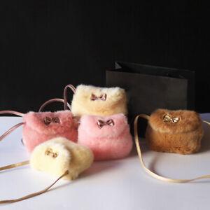Girls Kids Faux Fur Baby Mini Crossbody Bag Purse Bowknot Sweat Decor